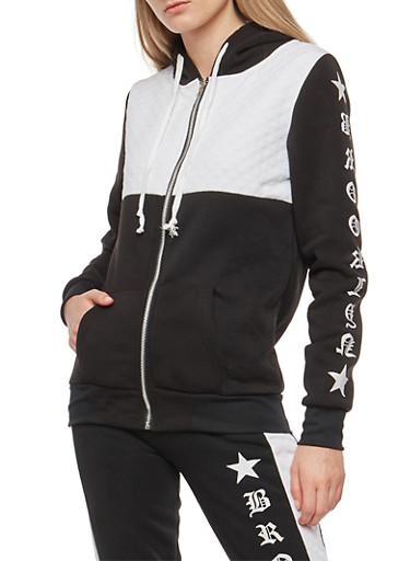 Color Block Graphic Fleece Zip Front Sweatshirt,BLACK,large