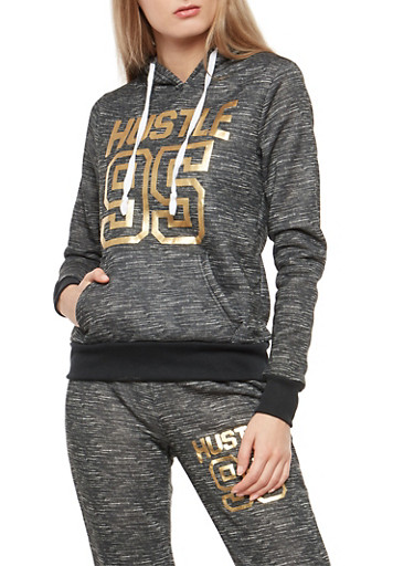 Hustle Foil Graphic Hooded Sweatshirt,BLACK,large