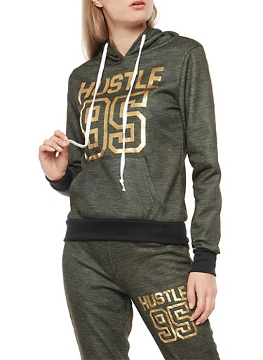 Hustle Foil Graphic Hooded Sweatshirt,OLIVE,large