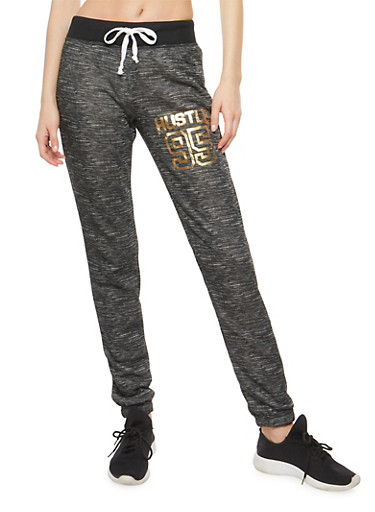 Hustle Foil Graphic Sweatpants,BLACK,large