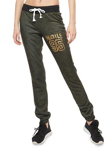 Hustle Foil Graphic Sweatpants,OLIVE,large