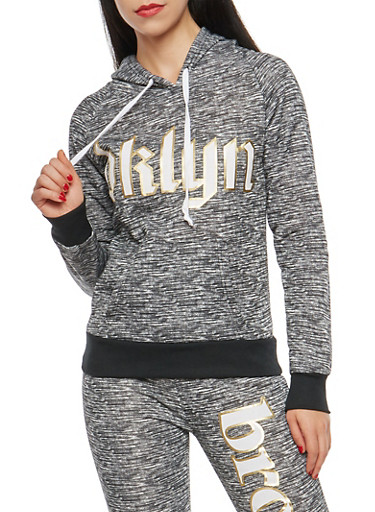 Marled BKLYN Graphic Hooded Sweatshirt,BLACK,large
