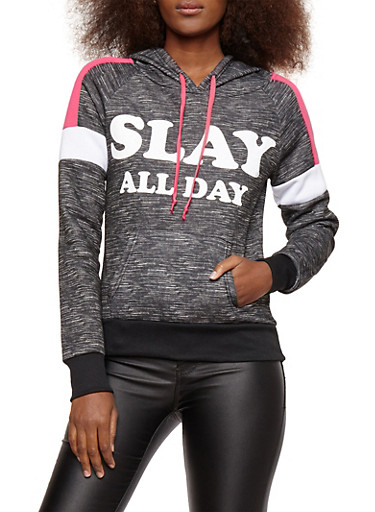 Fleece Graphic Activewear Sweatshirt,BLACK,large