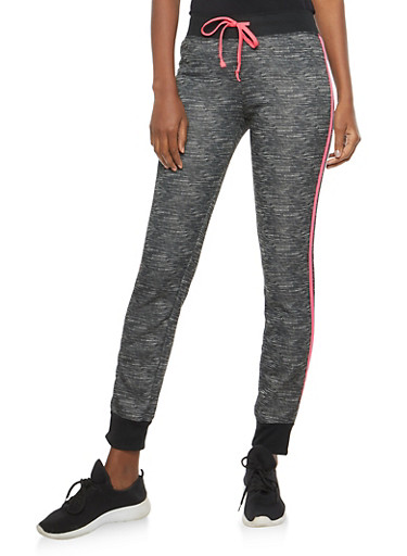 Marled Fleece Activewear Sweatpants,BLACK,large