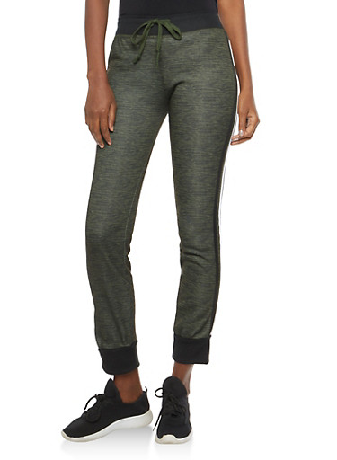 Marled Fleece Activewear Sweatpants,OLIVE,large