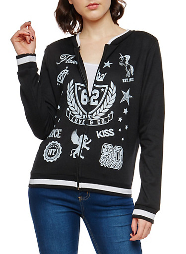 Graphic Varsity Zip Up Sweatshirt,BLACK,large