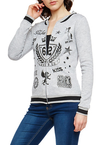 Graphic Varsity Zip Up Sweatshirt,HEATHER,large