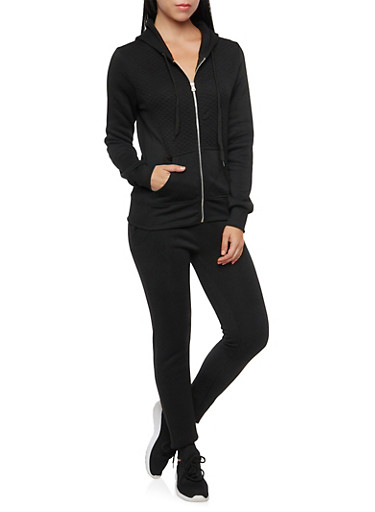 Zip Front Hoodie with Quilted Paneling,BLACK,large