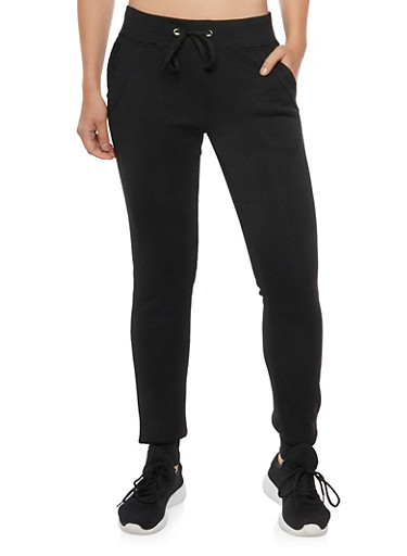 Fleece Joggers with Quilted Panels,BLACK,large