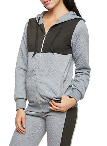 Quilted Zip Up Hoodie in Color Block Print,HEATHER,large