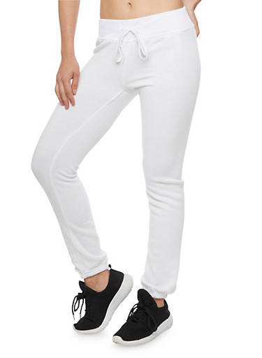 Solid Fleece Joggers,WHITE,large