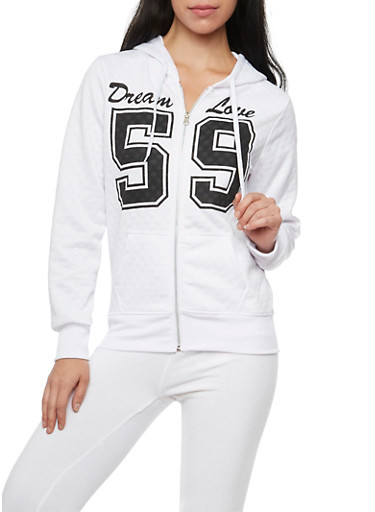 Quilted Dream Love Hoodie with Zip Front,WHITE,large