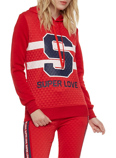 Quilted Hoodie with Super Love Graphic,RED,large