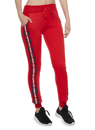 Quilted Joggers with Super Love Graphic,RED,large