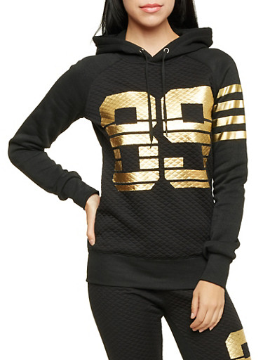 Quilted Hoodie with Gold Foil Print,BLACK,large