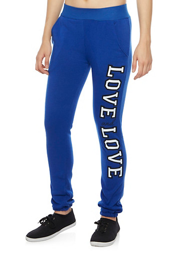Quilted Joggers with Gold Foil Print,COBALT,large