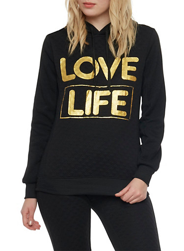 Graphic Hoodie with Love Life Print,BLACK,large
