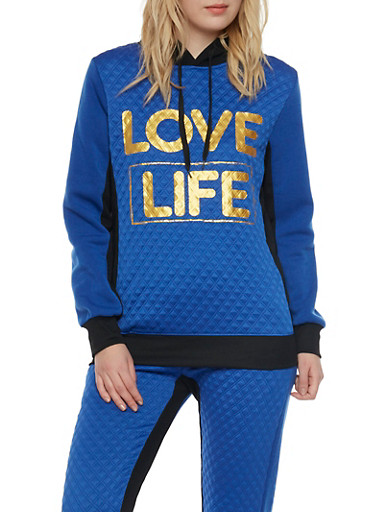 Graphic Hoodie with Love Life Print,BLUE,large