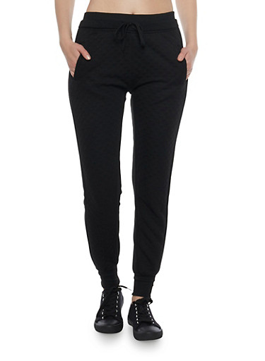 Color Block Joggers with Quilted Front,BLACK,large