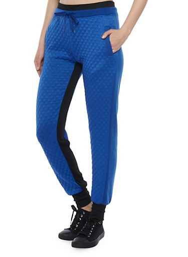 Color Block Joggers with Quilted Front,BLUE,large