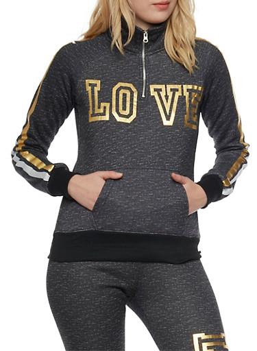 Zip Neck Fleece Top with Love Foil Graphic,BLACK,large