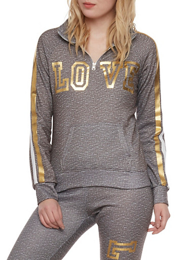 Zip Neck Fleece Top with Love Foil Graphic,GREY,large