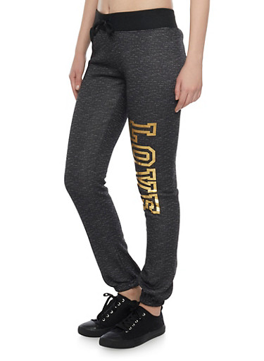 Fleece Joggers with Love Print,BLACK,large