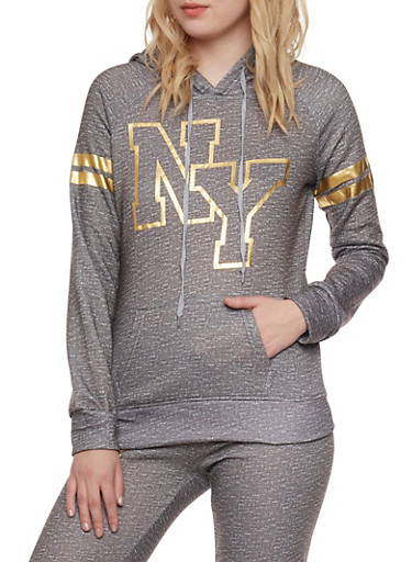 Fleece Space Dye Hoodie with Foil NY Graphic,GREY,large