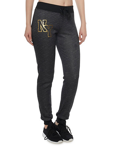 Slim Joggers with NY Graphic,BLACK,large