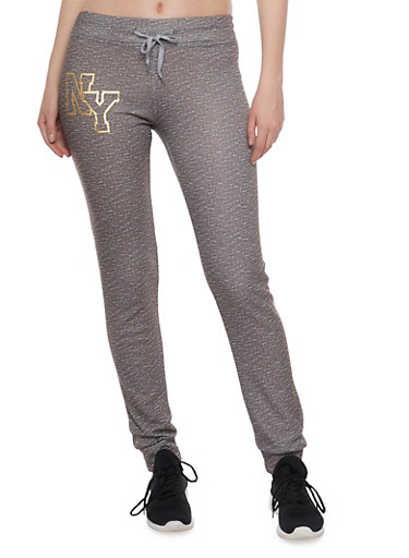 Slim Joggers with NY Graphic,GREY,large