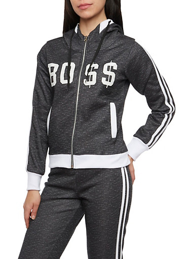 Graphic Zip Hoodie with Boss Print,BLACK,large