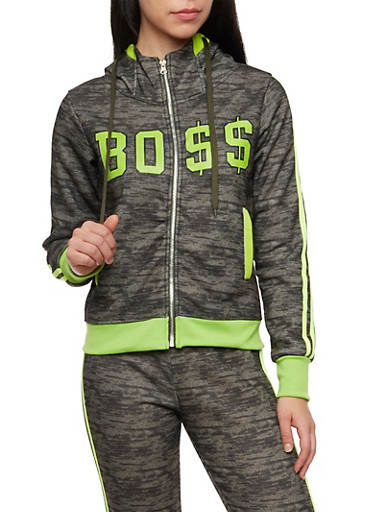 Graphic Zip Hoodie with Boss Print,OLIVE,large