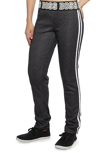 Graphic Sweatpants with Boss Print,BLACK,large