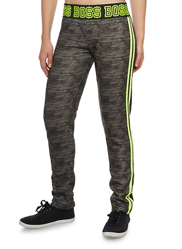Graphic Sweatpants with Boss Print,OLIVE,large