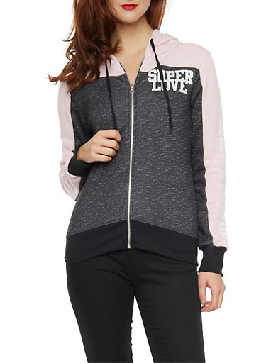Space Dye Color Block Hoodie with Super Love Graphics,BLACK,large