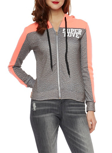Space Dye Color Block Hoodie with Super Love Graphics,GREY,large
