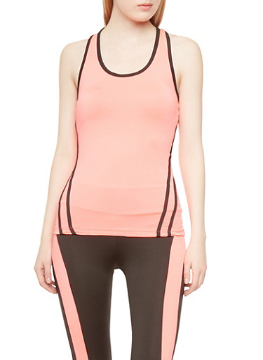 Performance Racerback Tank Top with Contrast Trim,NEON CORAL,large