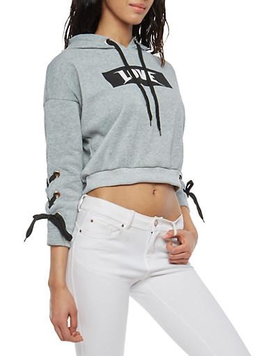 Love Lace Up Sleeve Hooded Sweatshirt,HEATHER,large