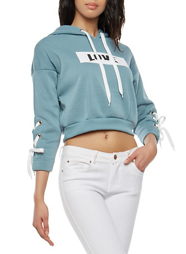 Love Lace Up Sleeve Hooded Sweatshirt,SEA BLUE,large
