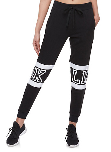 Lace Up Leg Sweatpants,BLACK,large