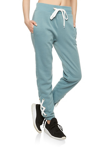 Lace Up Leg Sweatpants,SEA BLUE,large