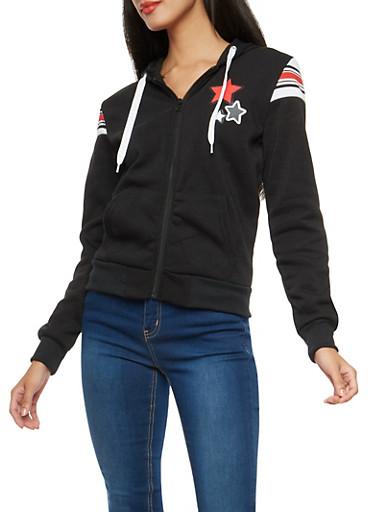 Star Graphic Zip Up Sweatshirt,BLACK,large