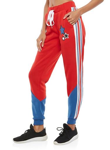 Color Block Sweatpants,RED,large