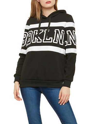Fleece Brooklyn Graphic Sweatshirt,BLACK,large