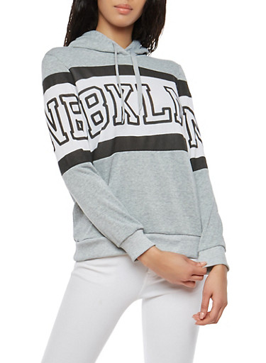 Fleece Brooklyn Graphic Sweatshirt,HEATHER,large