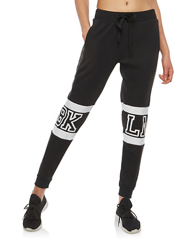 Graphic Fleece Sweatpants,BLACK,large