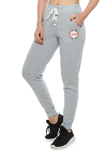 Love Graphic Lace Up Sweatpants,HEATHER,large