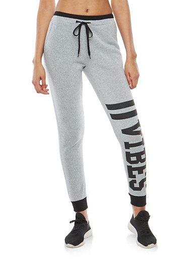 Vibes Graphic Print Sweatpants,HEATHER,large