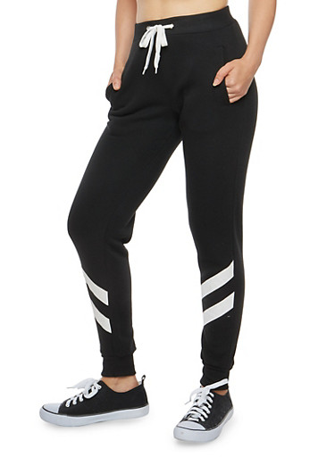 Diagonal Striped Sweatpants,BLACK,large