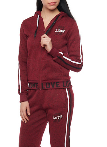 Love Graphic Soft Knit Zip Up Hoodie,BURGUNDY,large